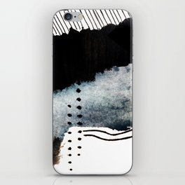 Closer - a black, blue, and white abstract piece iPhone Skin