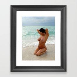 9037-SS Beautiful Naked Woman Nude Beach Sand Surf Big Breasts Long Black Hair Sexy Erotic Art Framed Art Print