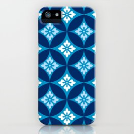 Shippo with Flower Motif, Indigo Blue and White iPhone Case