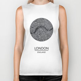 London map print drawing england Biker Tank