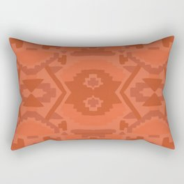 Geometric Aztec in Chile Red Rectangular Pillow