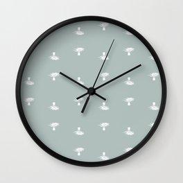 Small palm trees on gray Wall Clock