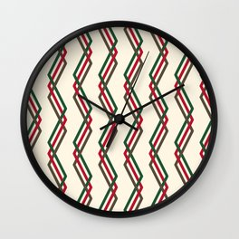 Mistlesnow Interweaving Zigzags on Ivory Wall Clock