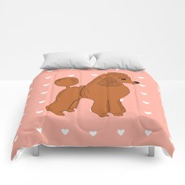 Red Apricot Poodle with Peach Pink & Hearts Comforters