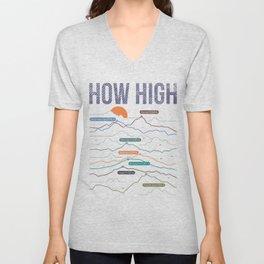 how high Unisex V-Neck