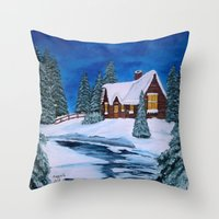 Throw Pillows featuring Winter landscape-1 by maggs326