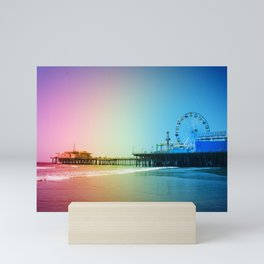 Santa Monica Pier Rainbow Colors Mini Art Print