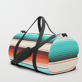 Navajo White, Turquoise and Burnt Orange Southwest Serape Blanket Stripes Duffle Bag