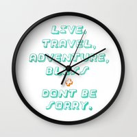 kerouac Wall Clocks featuring Kerouac by Ariel Wilson