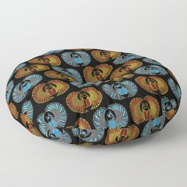 Egyptian Scarab Beetle Pattern - Gold  Blue  and red glass Floor Pillow