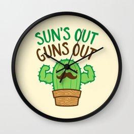 Sun's Out Guns Out Macho Cactus Wall Clock