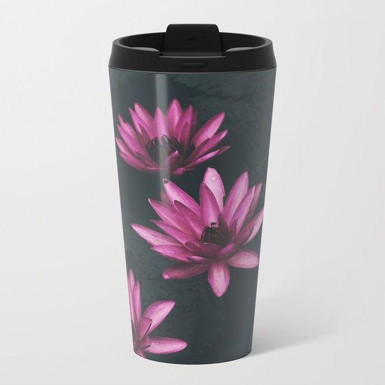 pink and black Metal Travel Mug