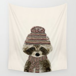 little indy raccoon Wall Tapestry