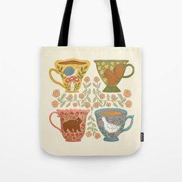 Floral Animal Teacups Tote Bag