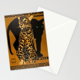 Leopard, Panther, German Zoo, Vintage Poster Stationery Cards