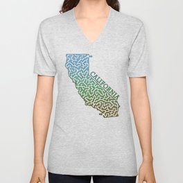 California State Outline Colorful Maze & Labyrinth Unisex V-Neck