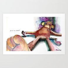 Get up silly monkey Art Print