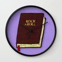 rock and roll Wall Clocks featuring Rock & Roll Bible by Josh LaFayette