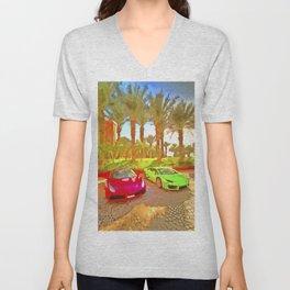 Dubai Super Cars Pop Art Unisex V-Neck