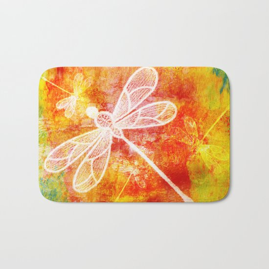 Dragonfly in embroidered beauty Bath Mat