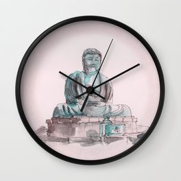 Peace and Harmony watercolor buddha pastel illustration Wall Clock