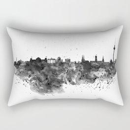 Black and white Berlin watercolor skyline Rectangular Pillow