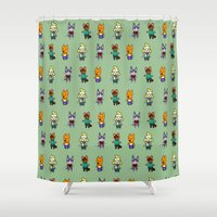 animal crossing Shower Curtains featuring Animal Crossing Design 5 by Caleb Cowan