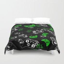 Video Game Black & Green Duvet Cover