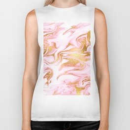 Rose Gold Marble Agate Geode Biker Tank