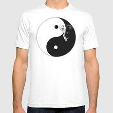 The YIN YANG ELEFANT - LIFE CURRENT series... MEDIUM White Mens Fitted Tee
