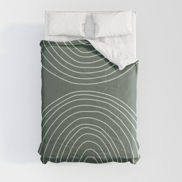 Handdrawn Geometric Lines in Forest Green Comforters