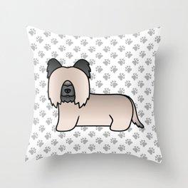 Cream Skye Terrier Dog Cute Cartoon Illustration Throw Pillow