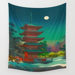 Tsuchiya Koitsu Vintage Japanese Woodblock Print Pagoda At Night Wall Tapestry