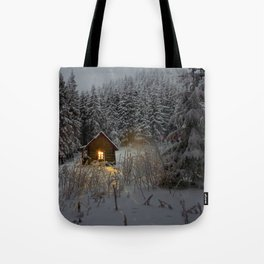 Tiny Cabin In The Winter Forest Snow Covered Pine Trees Tote Bag