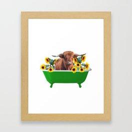 Highland cow - green Bathtub - sunflower blossoms Framed Art Print