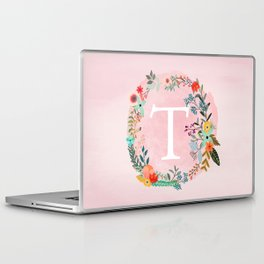 Flower Wreath with Personalized Monogram Initial Letter T on Pink Watercolor Paper Texture Artwork Laptop & iPad Skin