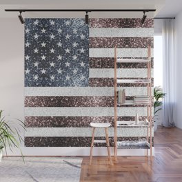 Rustic Red White Blue Sparkles USA flag Wall Mural