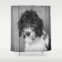 Thoughtful Labradoodle Shower Curtain