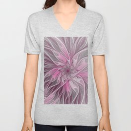 Abstract Pink Floral Dream Unisex V-Neck