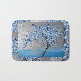 blue cherry blossom with silver grey gray white tree trees japanese japan beautiful prints Bath Mat