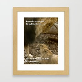 Baby and Dad Lion Framed Art Print