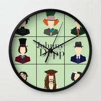 johnny depp Wall Clocks featuring Johnny Depp Character Print by Loverly Prints