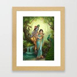 Radha Krishna playing the Flute Framed Art Print