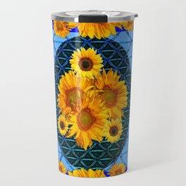 DECORATIVE BLUE ART & YELLOW SUNFLOWERS PATTERN Travel Mug