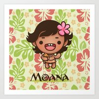 Kawaii Baby Moana Art Print