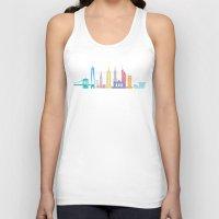 new york skyline Tank Tops featuring New York Skyline White by Christopher Dina
