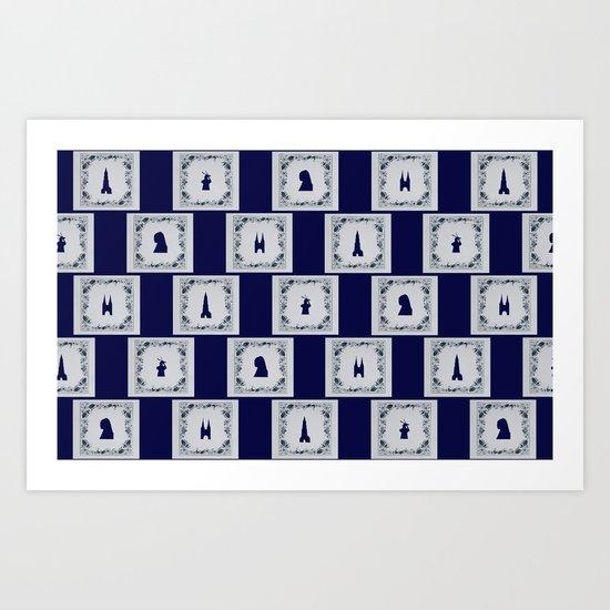 Collage Delft blue tiles Art Print