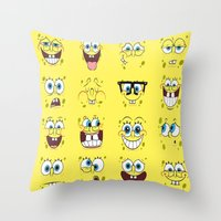spongebob Throw Pillows featuring Spongebob  by Lyre Aloise