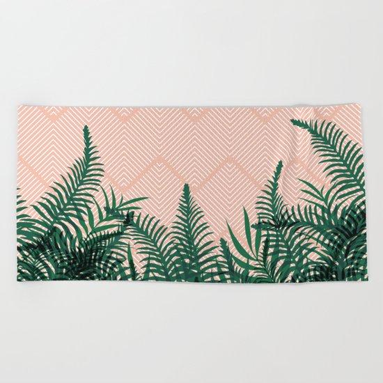 Tropical Ferns on Pink #society6 #decor #buyart Beach Towel
