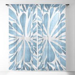 Symmetrical drops - blue Sheer Curtain